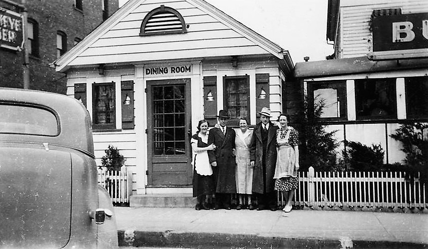 The Simmerman family that owned the Buckeye Diner from 1939-1945 are pictured in 1947 in front of the new Buckeye Diner and Dining Room; Thelma Simmerman, Frank Simmerman, Mother and owner, Fanny Ferne Simmerman, George Wilson, and Isabelle Simmerman Wilson. Co-owner, George Simmerman died in 1938.