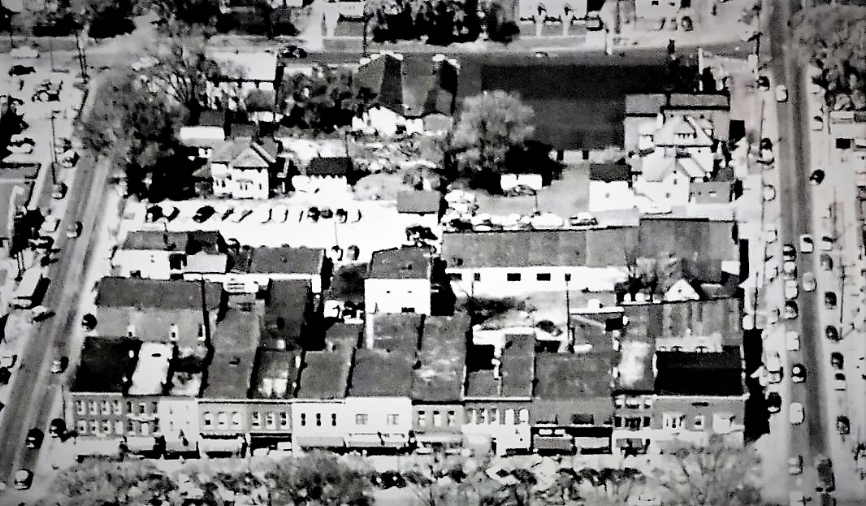1957 Aerial View of the West-side Public Square-West Washingtion Street-South Elmwood Street-West Liberty Street Block.