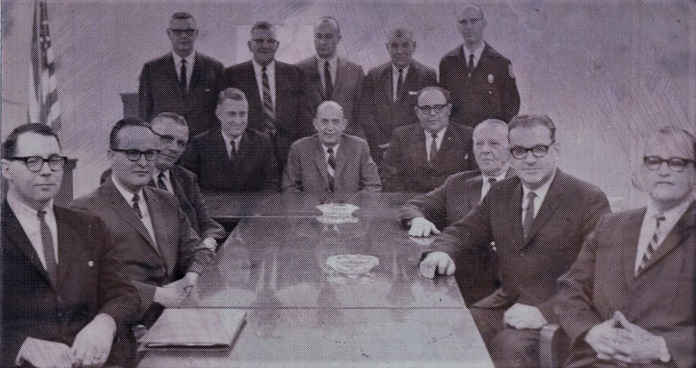 Left to right: Ronald Hall, George Rodgers, Steve Petrigala, Glen Hattery, John Root, Art Roepke, Fred Greenwood, Jack Kinney, Homer Davis, Sr., Robert Jones, Thurston Berry, Harold Rogers, Dale Sigafoos, Harry Van Horsten.
