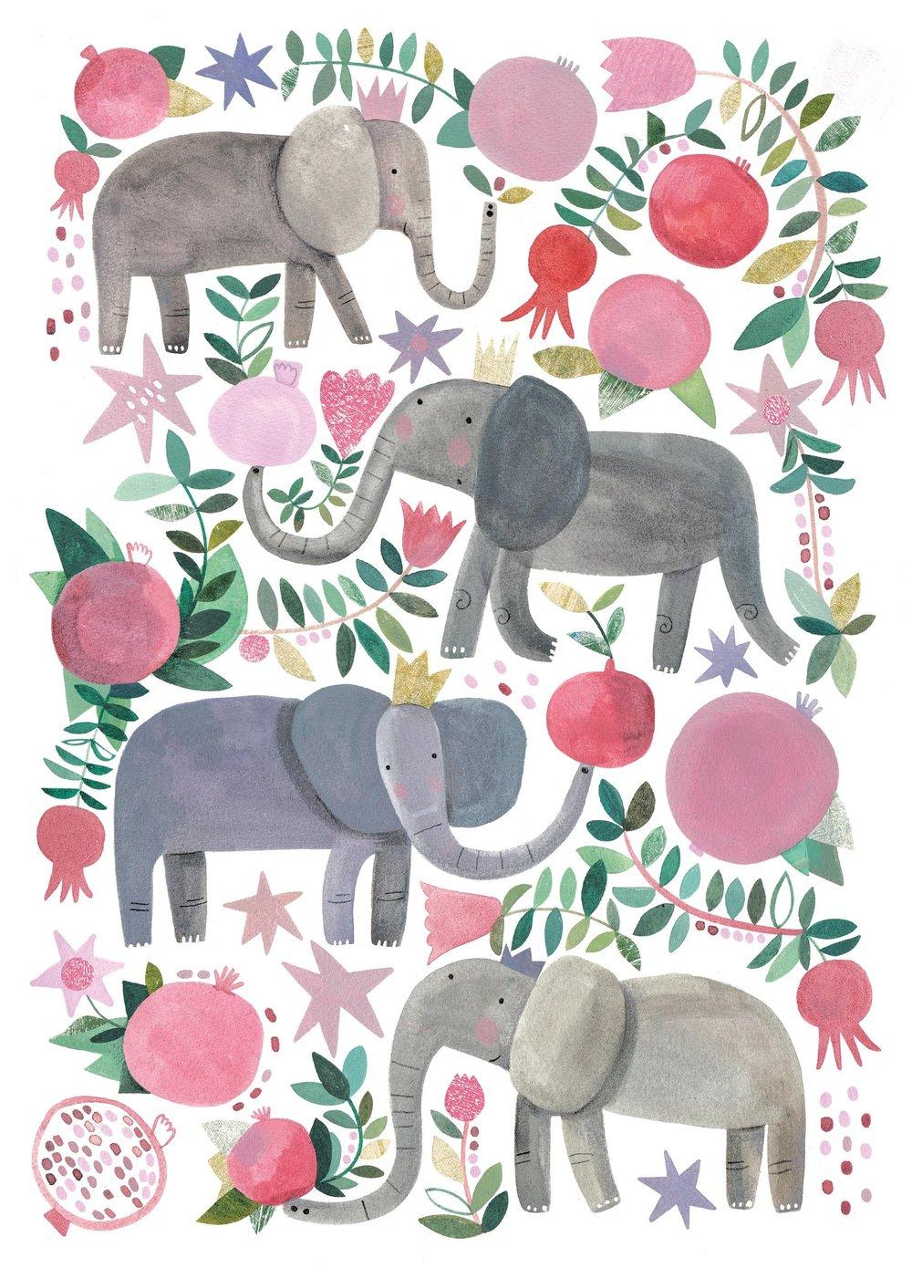 Elephant and Pomegranates