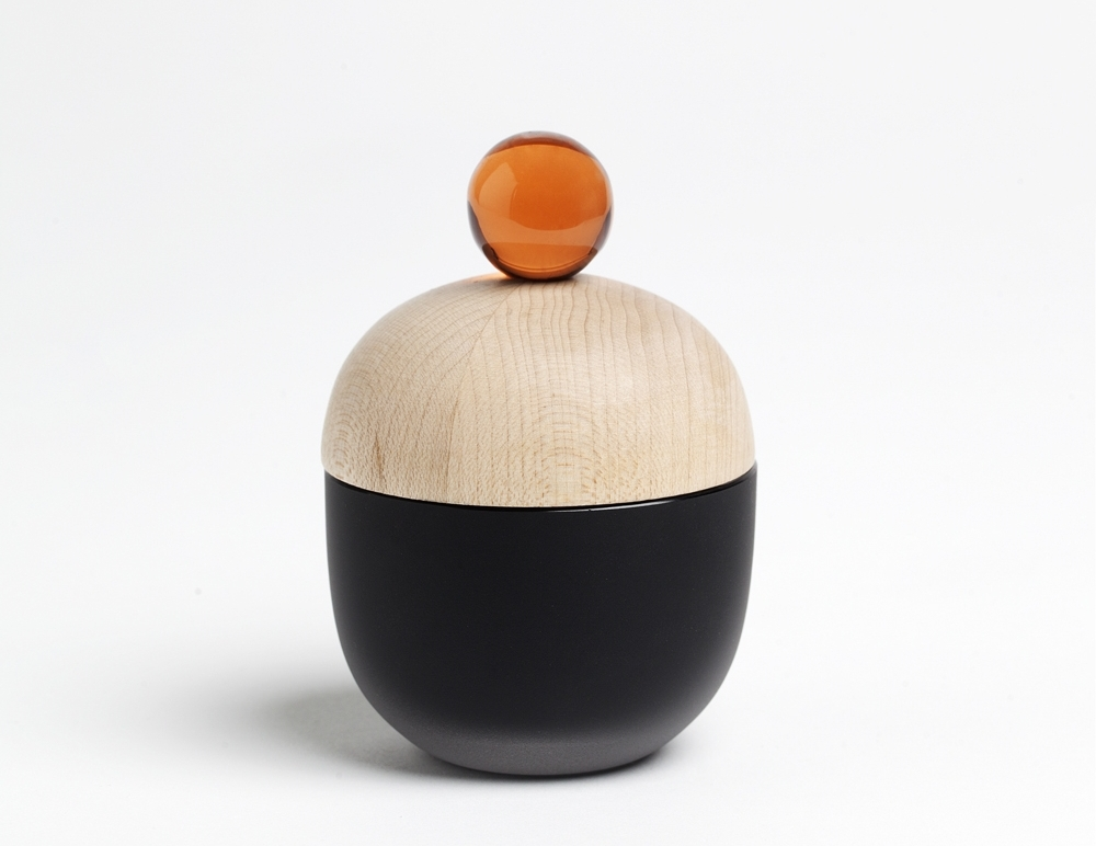 Lyyli box series, matt black, 2015  Small containers for goods. Finnish birch and handmade glass from Finland.  For Katriina Nuutinen Studio.  Buy here.