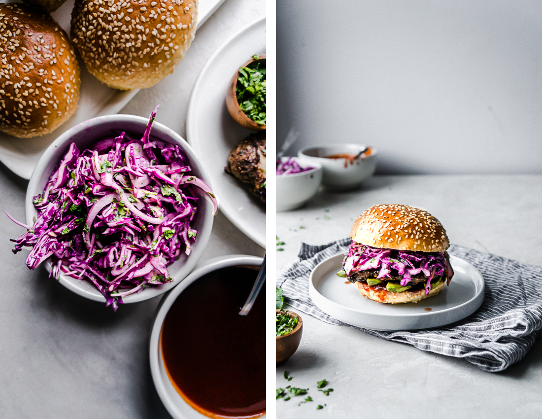Diptyque. Red Cabbage slaw on the left, One Jerk Chicken Sandwich on the Right