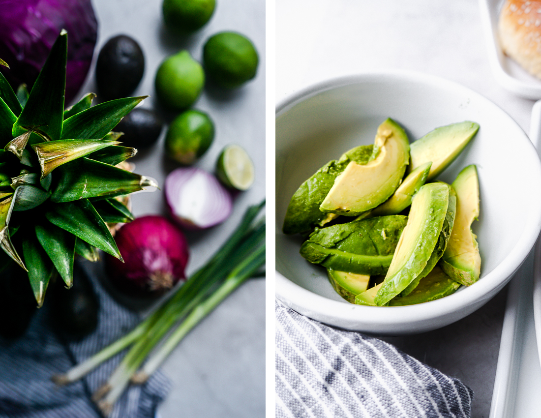 Diptyque. Table of fruit and vegetables on the left, bowl of avocado slices on the right