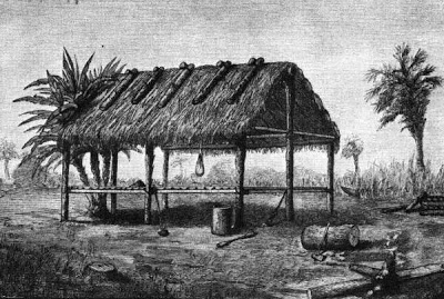 Drawing of a Tequesta Chickee Structure