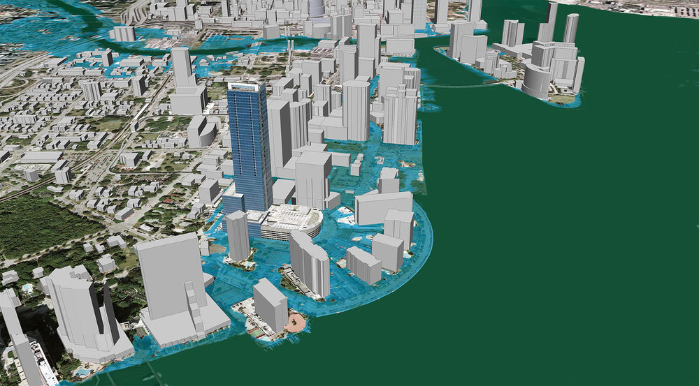 Image depicting Miami Beach 2030 when sea level has risen one meter. Image Credit: ©2007 2030, Inc / Architecture 2030 and ©2007 Google, Inc.