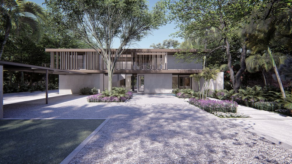 Coconut Grove Contemporary Home front Entrance by KoDA