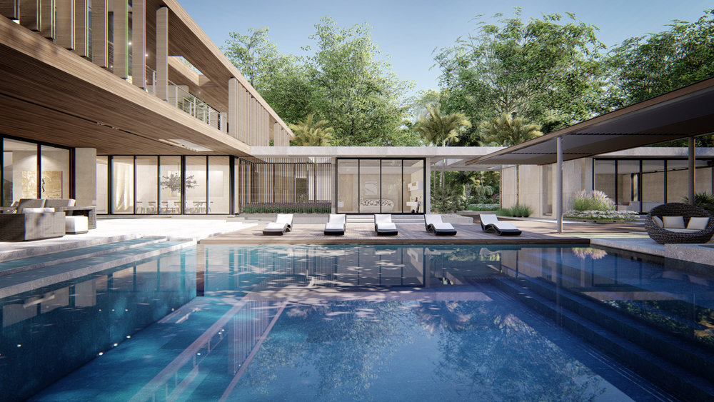 Contemporary Pool Luxury Miami Backyard by KoDA