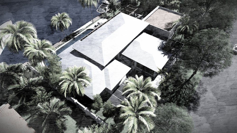 Aerial view of Harbour Beach Miami, FL Contemporary Residence by KoDA Miami