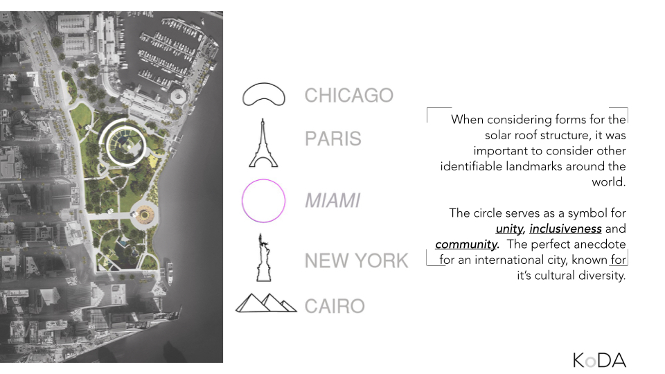The site will be seen from land sea and air, requiring an iconic presence front and center of the city. We looked at other identifiable objects around the world and determined that the most suitable form for Miami would be the circle, a symbol of unity, inclusiveness and community.