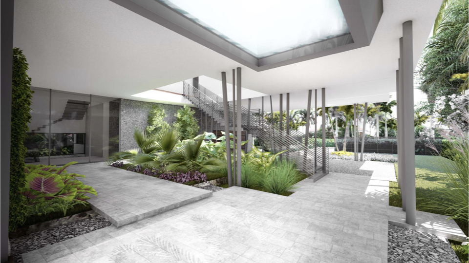 This is a view showing the ground floor garden, when initially built next year.