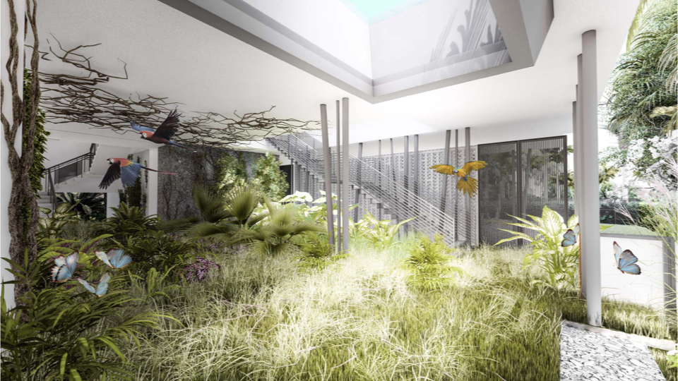 While this shows the home in 2100, when the ground floor is abandoned and returned back to its natural state as a habitat for flora and fauna as well as a bio-swale for flood events.