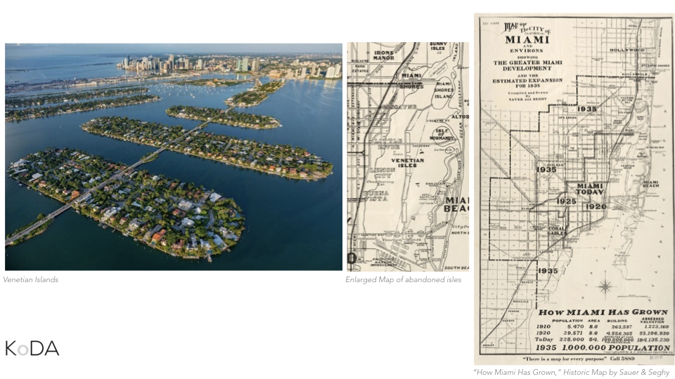 Another example of our imposition on the bay are the man-made islands such the venetian islands here on the left. On the far right, you see a historic map of Miami chronicling it's development over time. In the middle is an enlarged portion of the map which shows a north south expansion of the islands through the middle of the bay. Of course, this was abandoned.