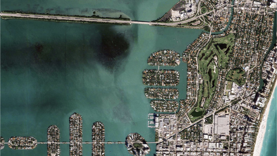 In this image you can see a faint rectangle formed by black dots in the bay. These are the piles that were put in place in the mid-1920's, but then later abandoned because of the impacts of the great depression of the early 20th century. What's interesting here are these dark green spots on either side of it. These are actually sea grasses in the bay. They thrive in this location because the piers prevent boat traffic from traversing this area and this of course, is one of the largest threats to sea grasses in the bay. Manatee's also take refuge within the perimeter of these pilings.