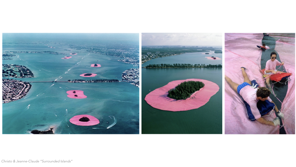 """Most are familiar with Christo and Jeanne-Claude's """"surrounded islands."""" This is yet another great example of how intervention in the bay doesn't always have to be disruptive. As you could imagine, this short 2 week installation saw it's fair share of environmental uproar. However, it turns out that the manatees in the bay were attracted to the pink fabric. Not only did it provide necessary shade, but the pink sunlight emitted through the fabric stimulated the manatee's sexual behavior. The fabric also kept boats at distance from the islands which led to more bird migration, for a short while."""