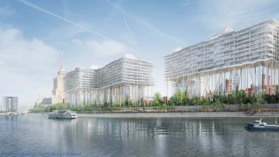 """Herzog and DeMeuron's """"horizontal Skyscrapper"""" in Moscow elevates the building far above the ground plane, allowing the space below it to return to nature and preserving the historic character of the former city."""