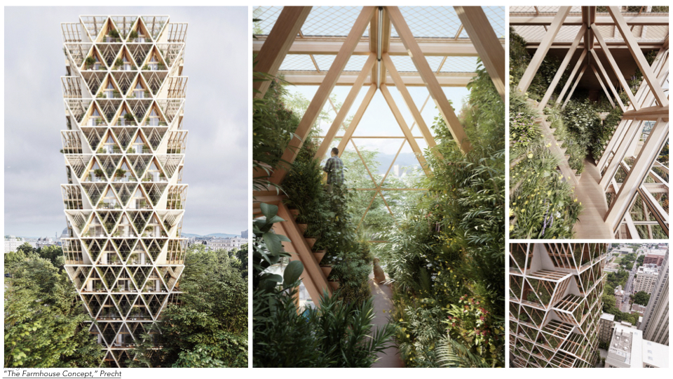 """The """"Farmhouse Concept"""" by Chris Precht uses a combination of CLT modules and vertical farming to turn a high-rise building into a complex network of residential units and vertical farms."""