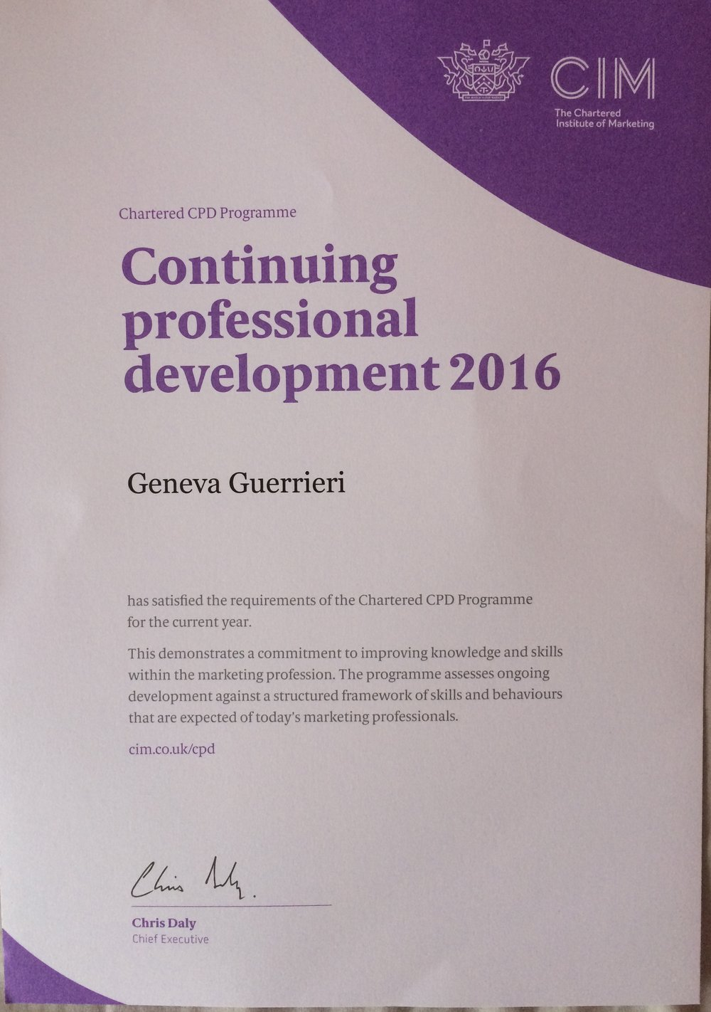 My First Continuing Professional Development Certificate Geneva