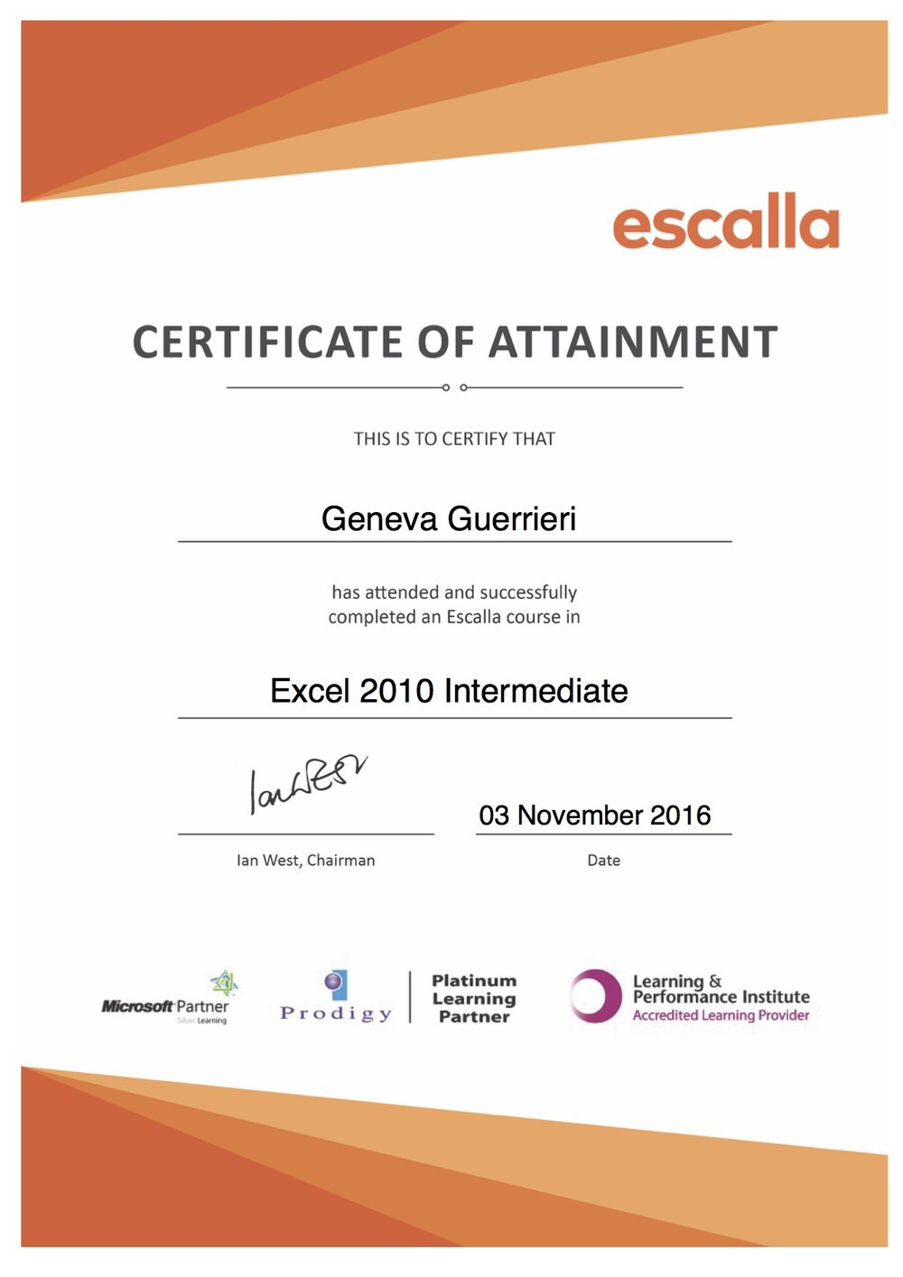 Excel Certified To An Intermediate Level At Least Geneva Guerrieri