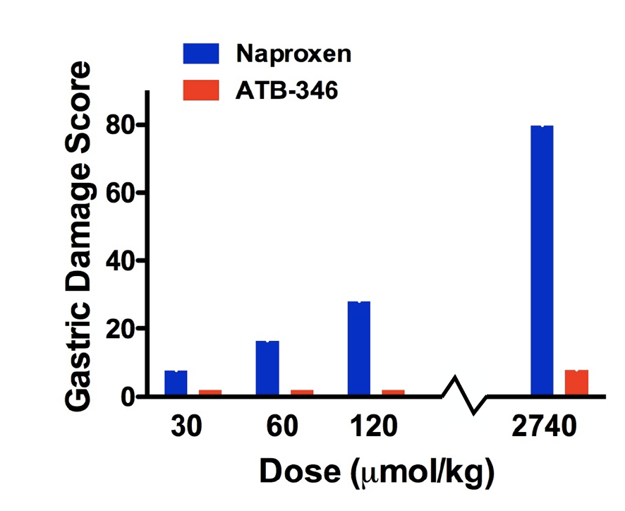 ATB-346 produced negligible GI damage over the full range of human dosing, unlike comparator NSAIDs