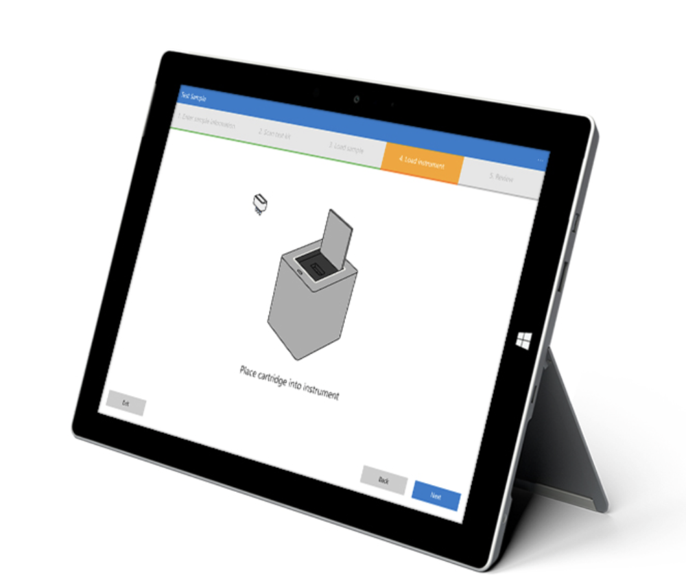 The Cube connects wirelessly to a tablet or laptop that displays test instructions and results with an intuitive touch interface