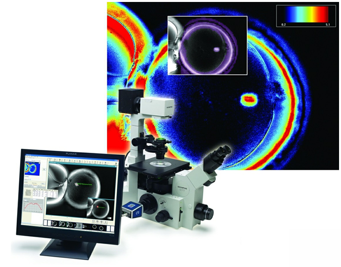 The Oosight system provides high-contrast live images of oocytes using a patented non-invasive, polarized-light