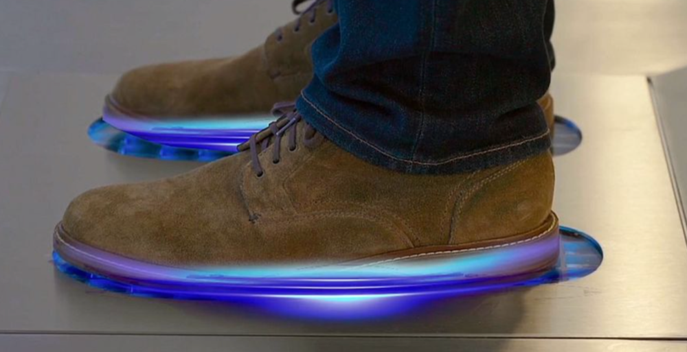 FLOORX is a footwear sanitizing station that uses the latest in UV-C LED technology to destroy over 94% of microbes in just 10 seconds.
