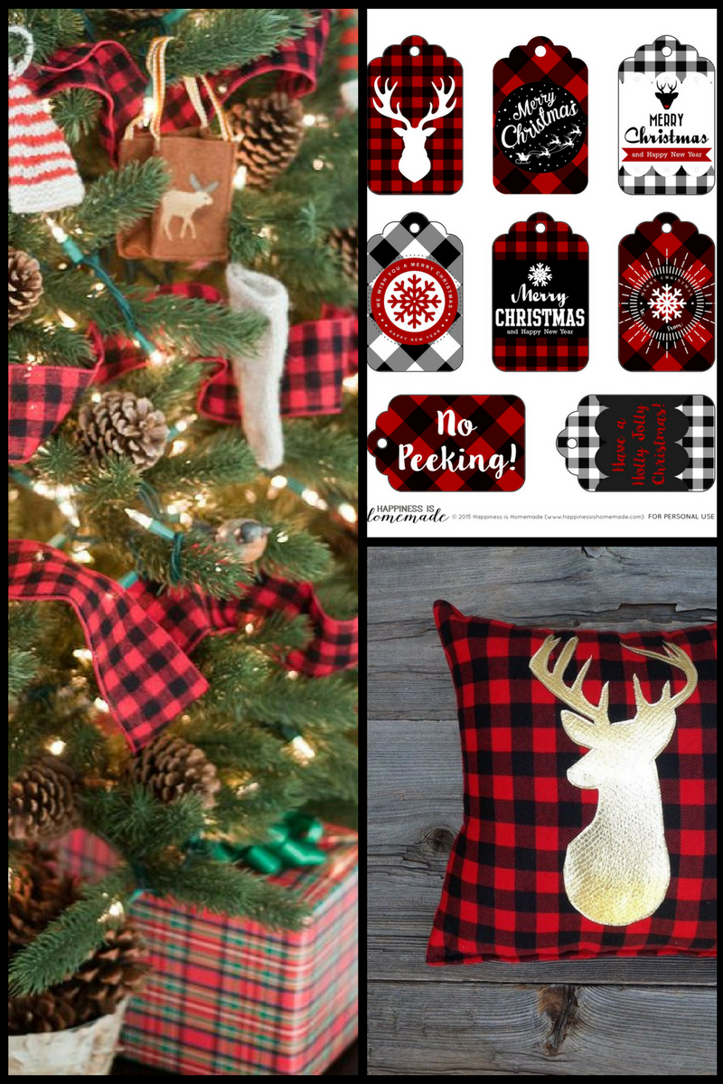 Christmas Tree: http://tartanscot.blogspot.com/2012/12/my-first-real-christmas-tree.html?m=1  Printable Gift Tags: http://www.happinessishomemade.net/buffalo-check-plaid-printable-christmas-holiday-gift-tags/  Throw Pillow: https://www.etsy.com/listing/244954302/buffalo-plaid-pillow-lodge-decor-deer