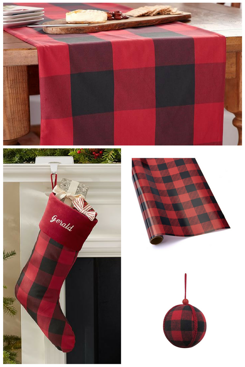 Buffalo Check Table Runner: http://www.potterybarn.com/products/buffalo-check-table-runner/?pkey=e%7Cbuffalo%2Bcheck%7C33%7Cbest%7C0%7C1%7C48%7C%7C3&cm_src=PRODUCTSEARCH  Red Buffalo Check Stocking: http://www.potterybarn.com/products/holiday-plaid-stocking-red-buffalo-check-velvet-red-cuff/?pkey=e%7Cbuffalo%2Bcheck%7C33%7Cbest%7C0%7C1%7C48%7C%7C1&cm_src=PRODUCTSEARCH  Buffalo Plaid Wrapping Paper: http://www.target.com/p/buffalo-plaid-snowflakes-wrapping-paper-40-assorted-styles-wondershop/-/A-51167349  Buffalo Plaid Ball Christmas Ornament: http://www.target.com/p/buffalo-plaid-ball-christmas-ornament-wondershop/-/A-51193148