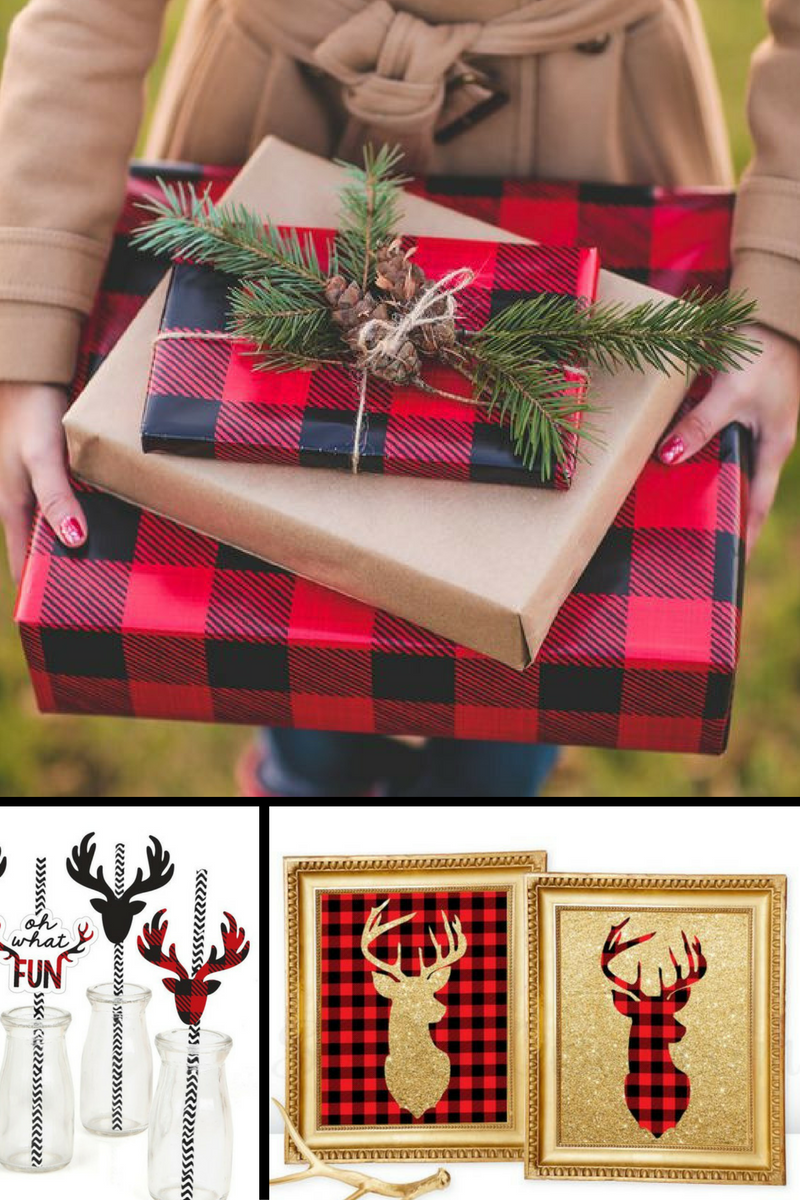 Photo of Gifts Wrapped: https://www.bloglovin.com/blogs/extra-petite-1917029/neiman-marcus-holiday-gift-guide-jo-malone-4641281431  Prancing Plaid - Christmas Party Straw Decor with Paper Straws - Set of 24: https://www.amazon.com/dp/B01LYYKL65/ref=as_li_ss_tl?psc=1&linkCode=ll1&tag=lithmoli0c-20&linkId=dcd8f3776820067dd02c2266da5d11cd  Gold and Buffalo Plaid Deer Printables: https://www.etsy.com/ca/listing/258409726/printable-winter-home-decor-deer-head?ga_search_query=buffalo+plaid&ref=shop_items_search_7