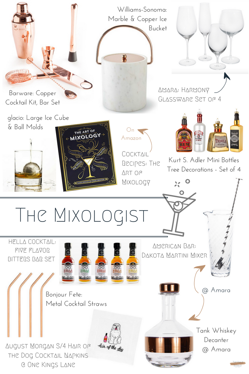 Tank Whiskey Decanter  $110   Williams-Sonoma Marble & Copper Ice Bucket  $99.95  Harmony Glassware Set of 4  $19   The Art of Mixology  $13.84   American Bar Dakota Martini Mixer  $95   Barware Copper Cocktail Kit, Bar Set  $99.00  August Morgan S/4 Hair of the Dog Cocktail Napkins  $38.00  Bonjour fete Metal Cocktail Straws  $18.00  glacio Large Ice Cube & Ball Molds  $16.95   Five Flavor Bitters Bar Set  $34.95   Kurt S. Adler Mini Bottles Tree Decorations - Set of 4  $67
