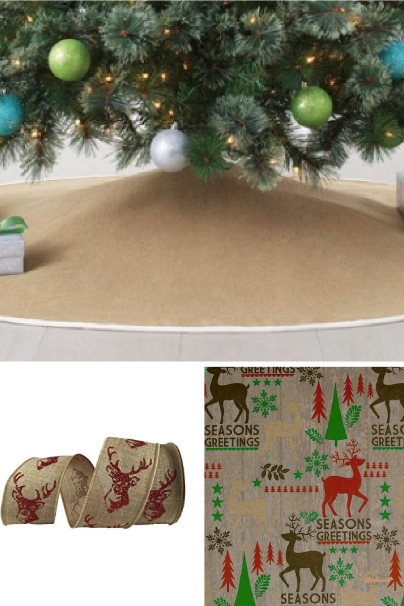 "56"" Burlap Christmas Tree Skirt - Wondershop™ -Target  $30.00  Distressed Deer Gift Wrap By Celebrate It™  $5.99  2.5"" Faux Linen Wired Deer Ribbon By Celebrate It™ Bow-Tique™  - $9.99"