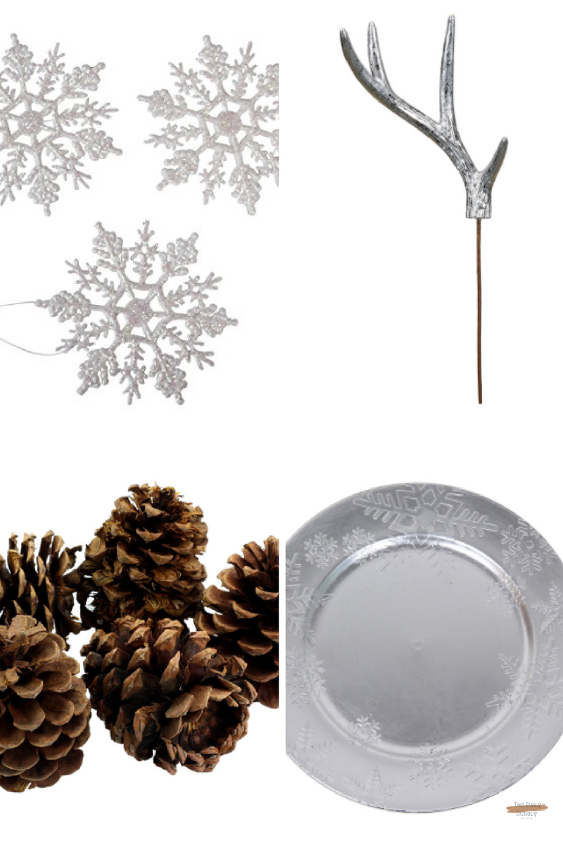 Snowflake Charger By Ashland®  - $4.50  Scented Large   Pinecones By   Ashland®  - $4.99  Silver Foil Antler Pick By Ashland™  - $4.99  10-Piece Pearlized Snowflake Ornament, 4-Inch  $5.44