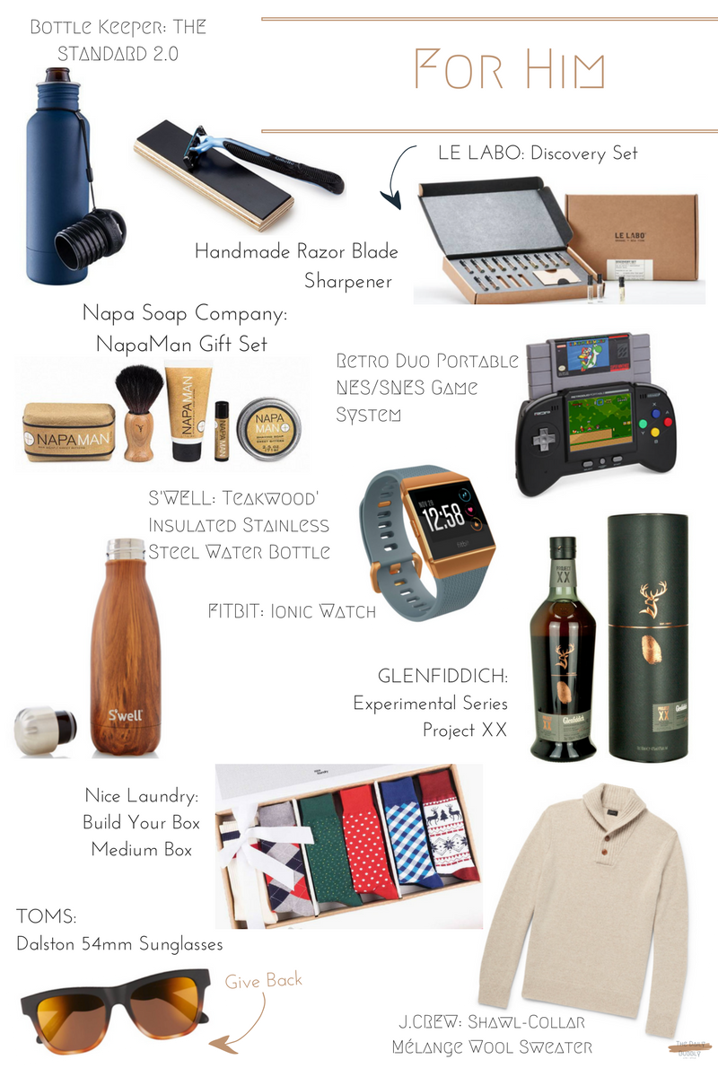 Napa Soap Company Napa Man Gift Set  $55  Handmade Razor Blade Sharpener  $20  Retro Duo Portable NES/SNES Game System  $90   Bottle keeper THE STANDARD 2.0  $35  LE LABO Discovery Set  $80  FITBIT Ionic Watch  $300  GLENFIDDICH Experimental Series Project XX  $56  Nice Laundry Build Your Box Medium Box  $89  S'WELL  Teakwood' Insulated Stainless Steel Water Bottle  $45  TOMS Dalston 54mm Sunglasses  $78   J.CREW Shawl-Collar Mélange Wool Sweater  $75