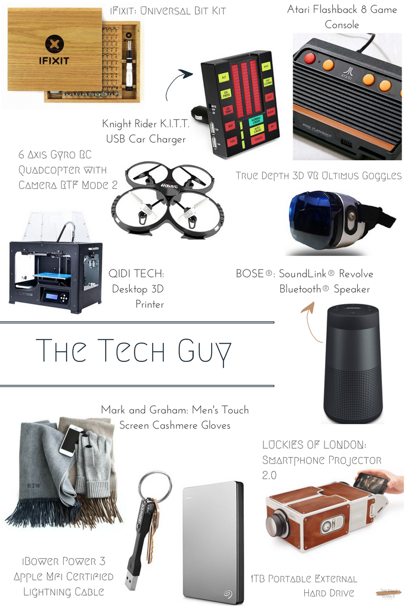 iFixit Universal Bit Kit  $120  True Depth 3D VR Ultimus Goggles  $13   Knight Rider K.I.T.T. USB Car Charger  $97    6 Axis Gyro RC Quadcopter with Camera RTF Mode 2  $43   BOSE® SoundLink® Revolve Bluetooth® Speaker  $199  QIDI TECH Desktop 3D Printer  $629  Mark and Graham Men's Touch Screen Cashmere Gloves  $49  LUCKIES OF LONDON  Smartphone Projector 2.0  $32   Seagate Backup Plus Slim 1TB Portable External Hard Drive  $65  iBower Power 3 Apple Mfi Certified Lightning Cable  $54  Atari Flashback 8 Game Console  $68