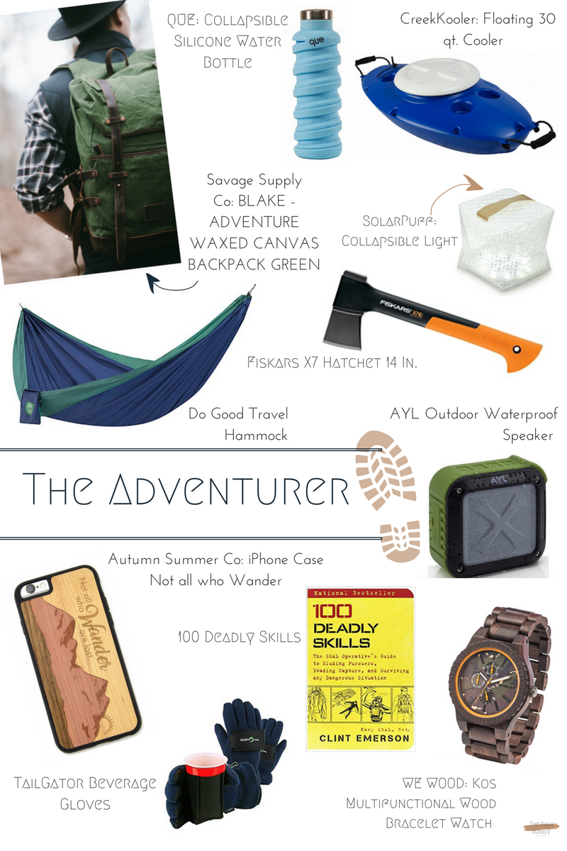 que   Collapsible Silicone Water Bottle  $20  CreekKooler Floating 30 qt. Cooler  $180  Savage Supply Co BLAKE Adventure Backpack  $170  Fiskars X7 Hatchet 14 Inch  $25  SolarPuff Collapsible Light  $30  Do Good Travel Hammock  $65  AYL Outdoor Waterproof Speaker  $27  Autumn Summer Co iPhone Case Not all who Wander  $25  100 Deadly Skills  $11  TailGator Beverage Gloves  $25  WEWOOD Kos Multifunctional Wood Bracelet Watch  $160