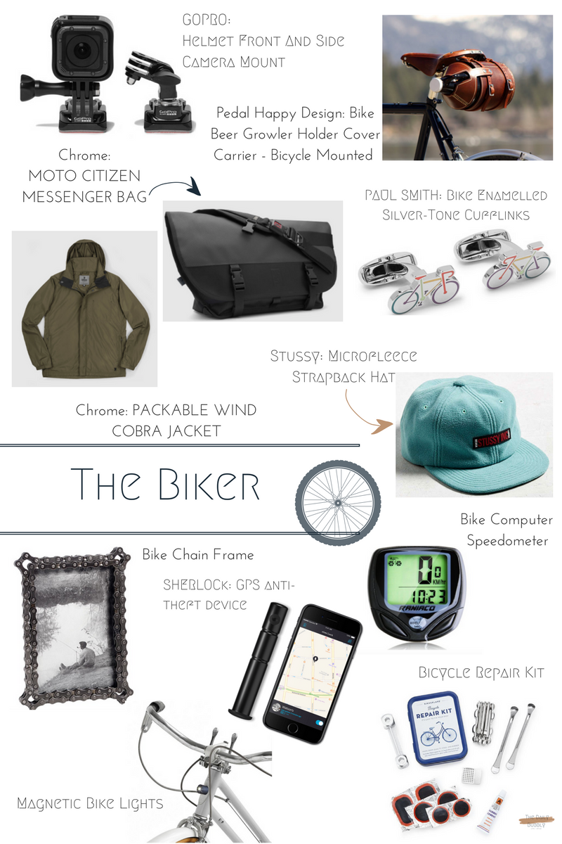 Chrome Packable Wind Cobra Jacket  $75  Magnetic Bike Lights  $36  Bicycle Repair Kit  $18  Bike Chain Frame  $38  Bike Beer Growler Holder Cover Carrier  $86  Bike Computer Speedometer  $15  Stussy Microfleece Strapback Hat  $46   PAUL SMITH Bike Enamelled Silver-Tone Cufflinks  $125  Chrome Moto Citizen Messenger Bag  $150.00   GoPro Helmet Front And Side Camera Mount  $30  SHERLOCK BOX GPS anti-theft device  $160