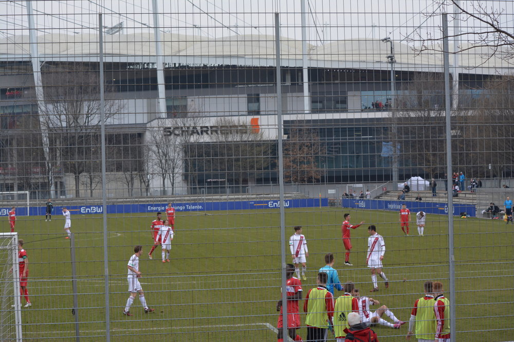 VfB youth teams play in the shadow of the Mercedez-Benz Arena.