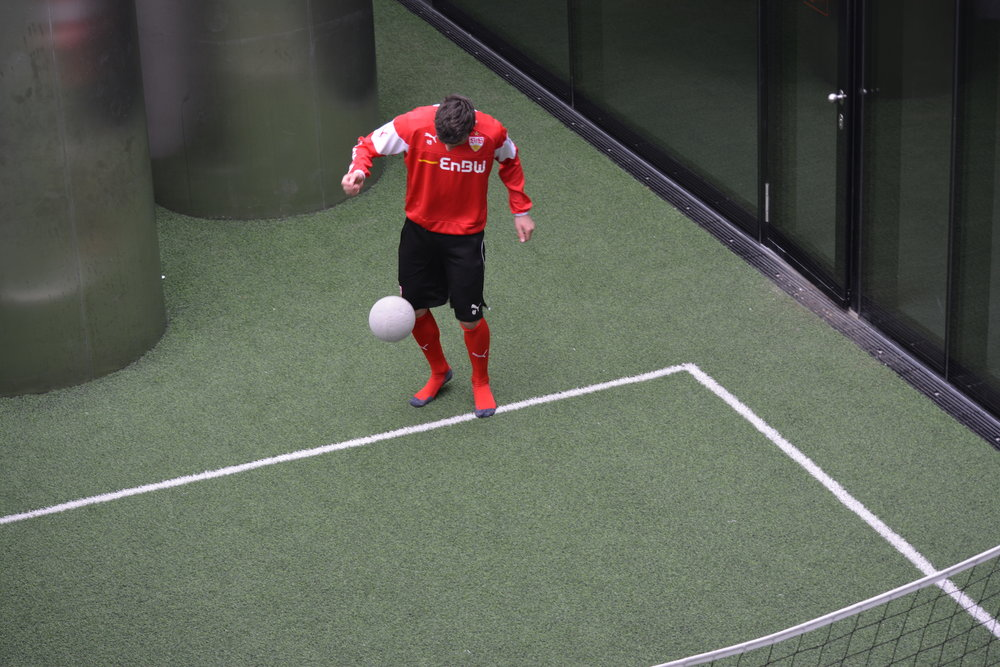 Stuttgart may not have the famed  Footbonaut  but their players still develop their ball control skills in a FIFA minigame-like environment.