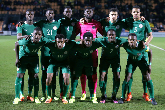 The Super Eagles pose for a photo before kick-off.