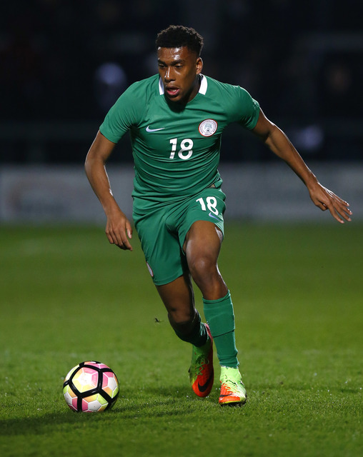 Arsenal's Alex Iwobi (20) in action for Nigeria against Senegal.