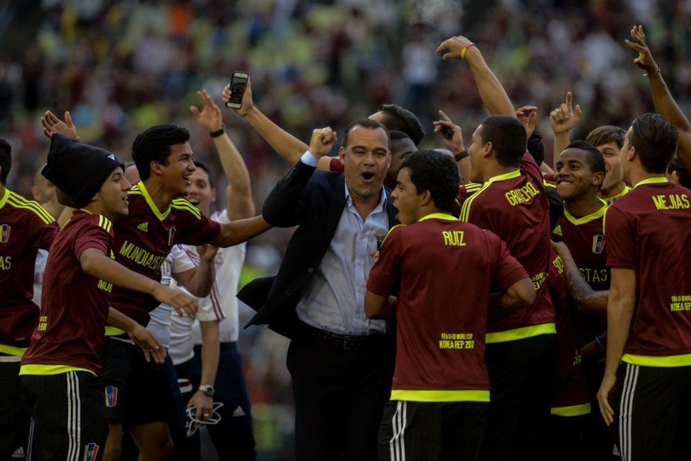 Venezuela's U20 squad celebrate after their historic run to the World Cup final.