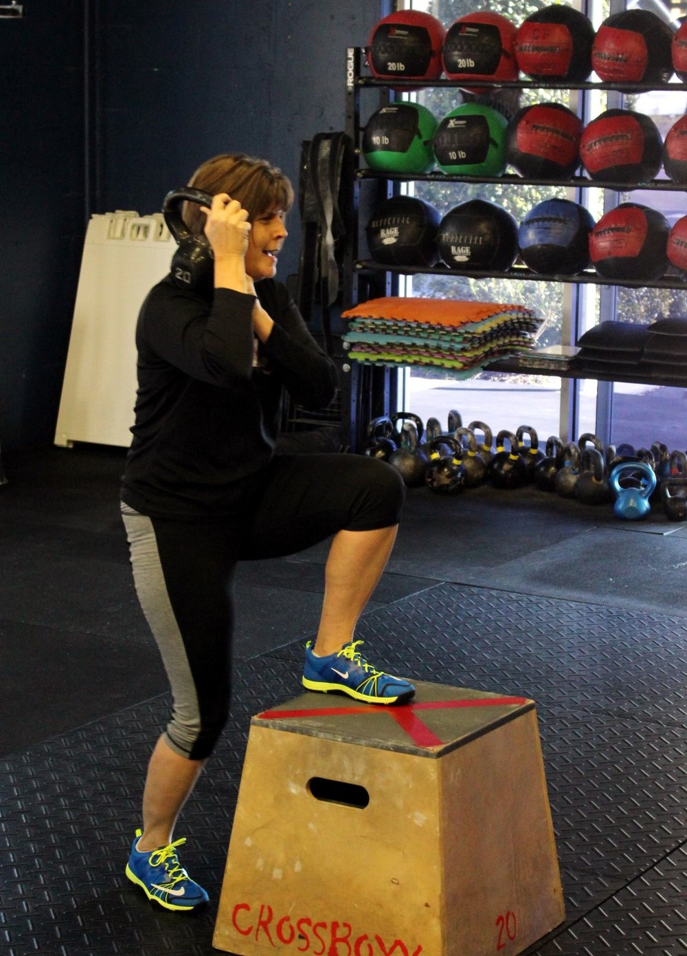 Susan doing weighted Step Ups