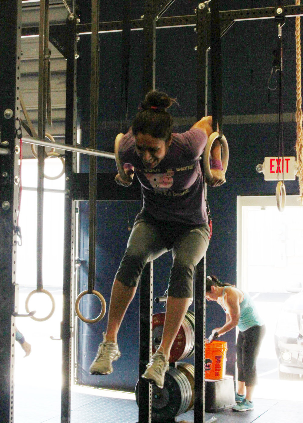 Tejal doing one of the 20 Muscle Ups in the workout!