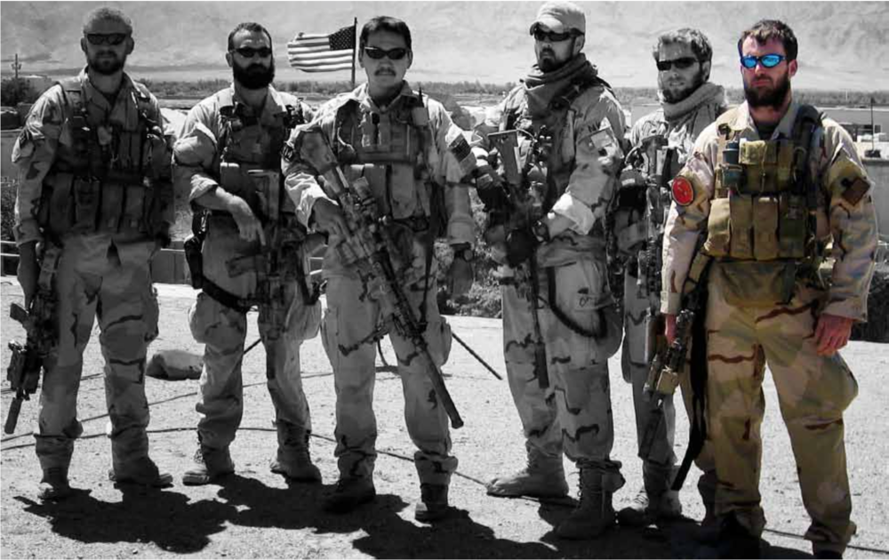 SEALs prior to Operation Red Wings (L to R):  Matthew Axelson , Daniel R. Healy, James Suh,  Marcus Luttrell , Eric S. Patton,  Michael P. Murphy
