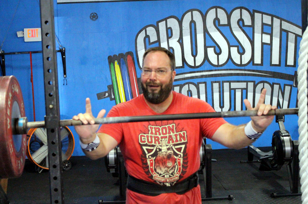 Chris goofing around between sets of Back Squat