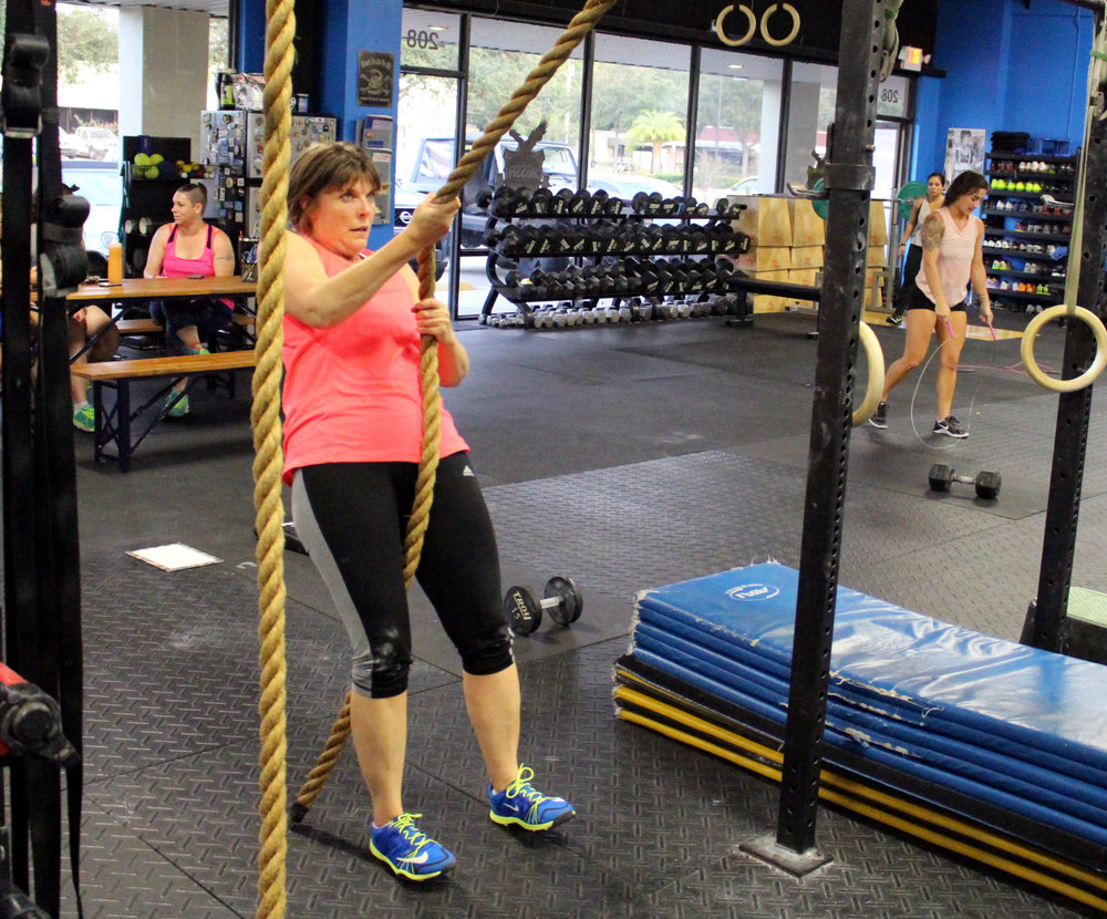 Susan doing rope pulls
