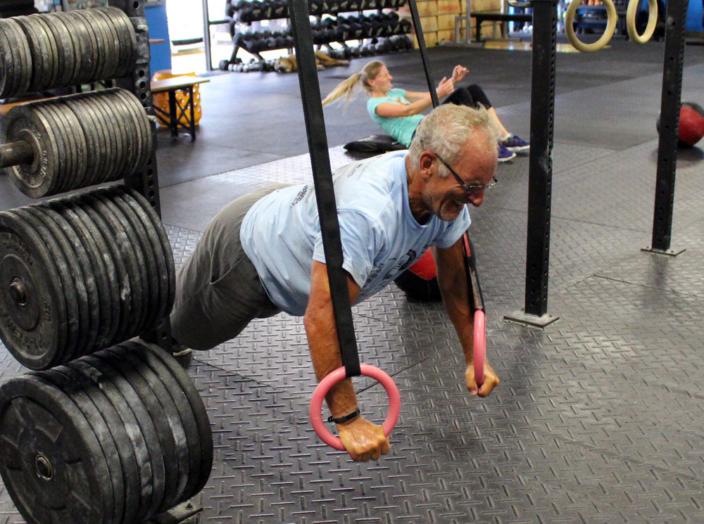 Mark B doing ring push-ups! He's lost an incredible amount of weight in the past couple of years and looks great!