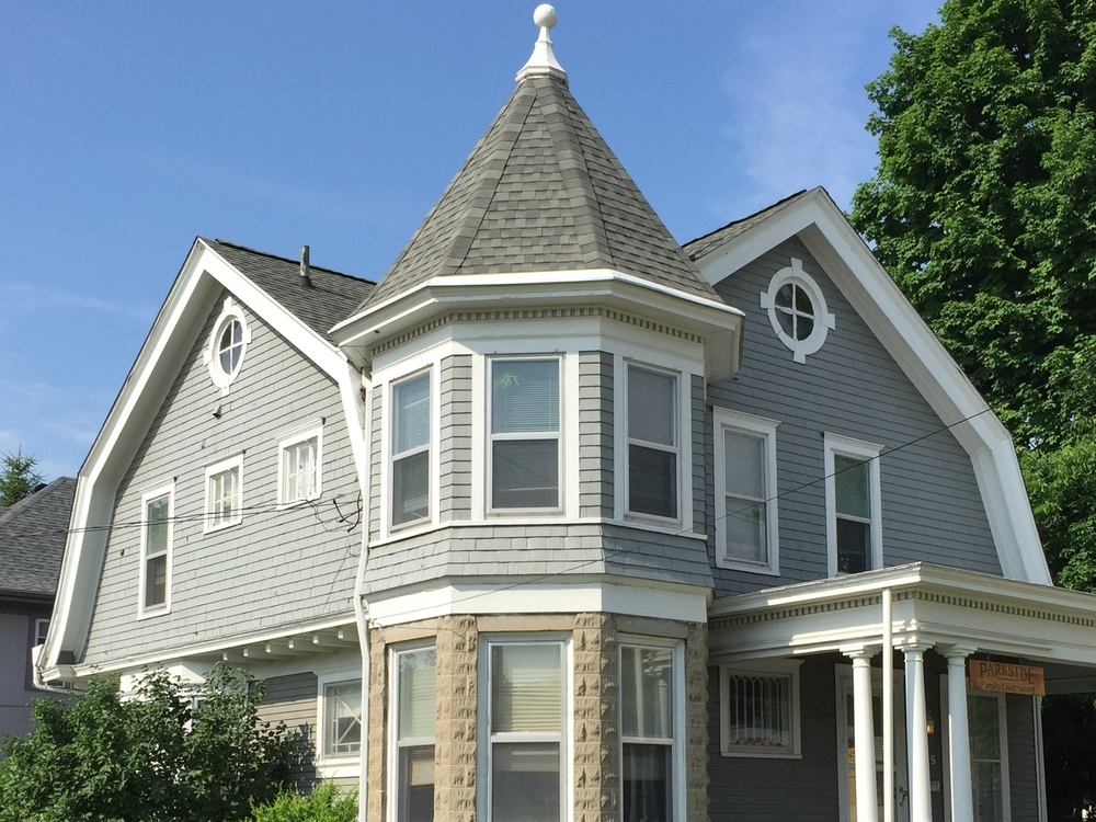 Cross Gambrel Roof--Shingle Style