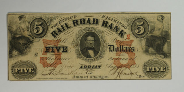 Erie and Kalamazoo Railroad Bank note featuring a portrait of the founder of the city of Adrian, Addison Joseph Comstock.