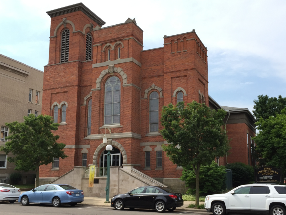 First Presbyterian Church, 156 East Maumee Street, built in the Greek Revival style in 1842; facade redesigned in the Romanesque Revival style in 1869